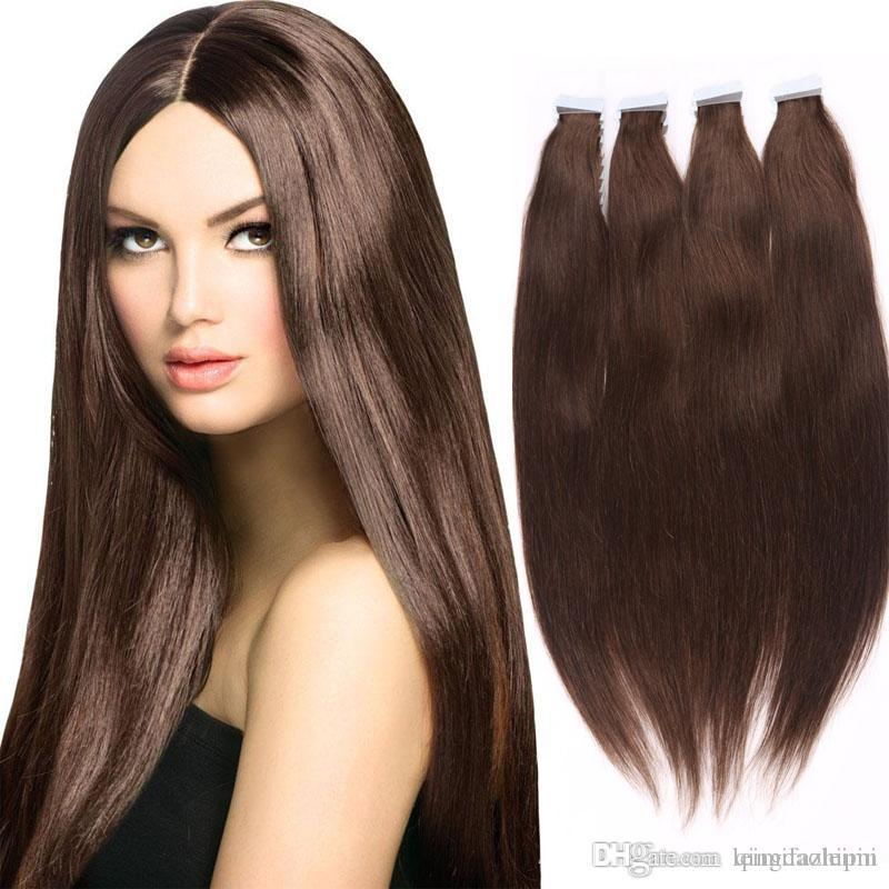Big Seal Remy Human Hair Extensions Pu Skin Weft Silky Straight Tape