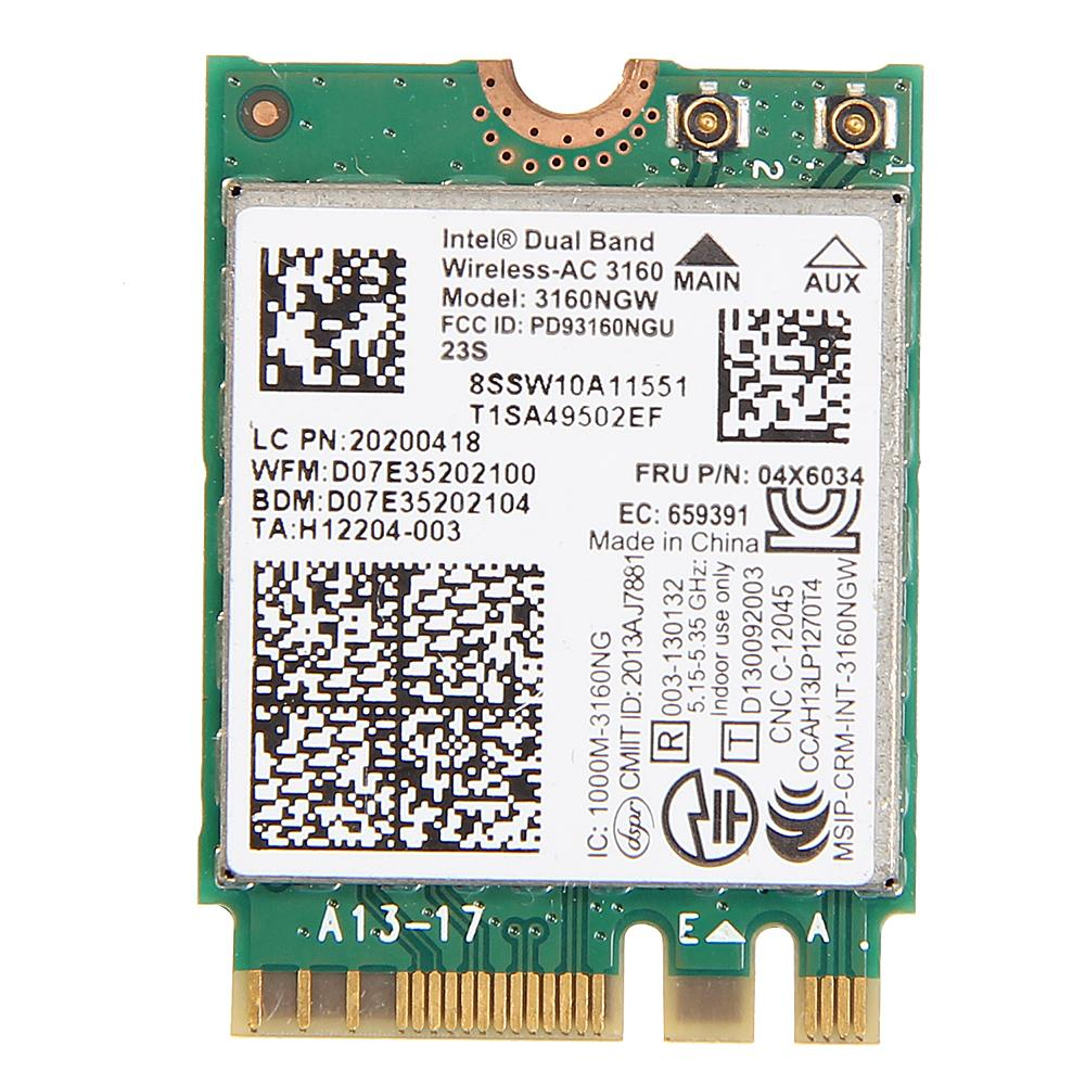 Al por mayor-Dual Band Wireless-AC 3160 WiFi Bluetooth NGFF WLAN Adaptador FRU 04X6034 para Lenovo IBM Intel 3160NGW 802.11ac Wifi + BT 4.0 Tarjeta