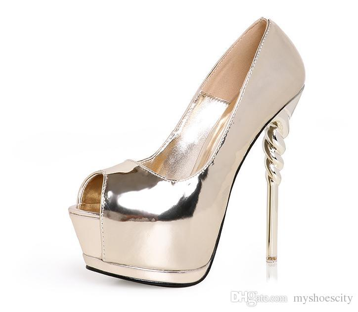 ee7e89adda9 Sexy Women High Heels Peep Toe Platform Pumps Sparkly Gold Silver ...