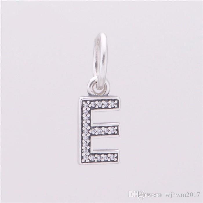Pave Clear Crystal Letters E Charm Pendants Bead 925 Sterling Silver Jewelry Dangle Alphabet E Charms Beads For DIY Brand Bracelets Making