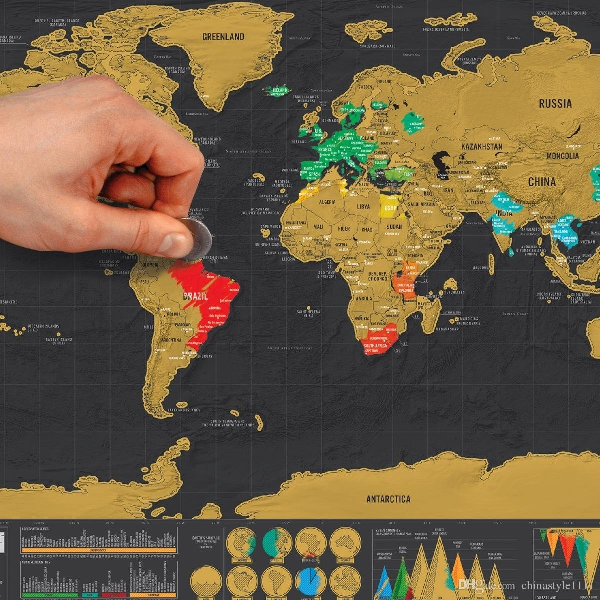 Scratch Map World World Mini Usa Europe 4 Kinds Travel Map Packed