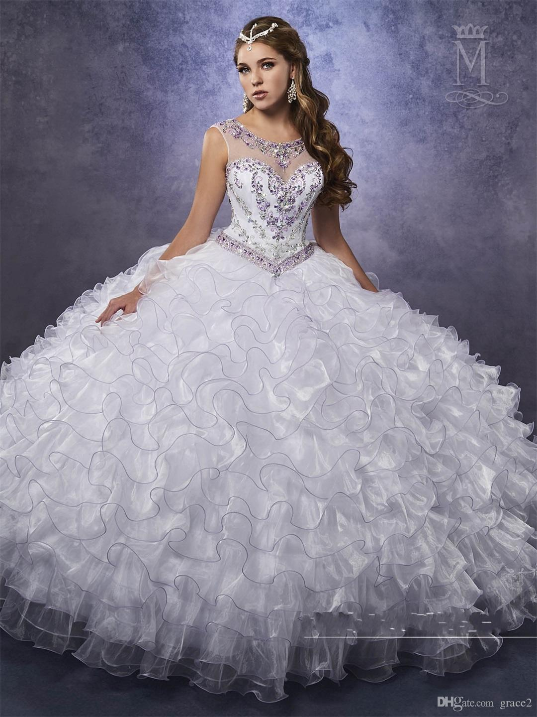 Ruffles Quinceanera Dresses 2017 Mary S Princess With Illusion Neck And  Beaded Basque Waistline Two Tones Sweet 15 Dress Custom Made Inexpensive  Quinceanera ... 89d4e7c98889