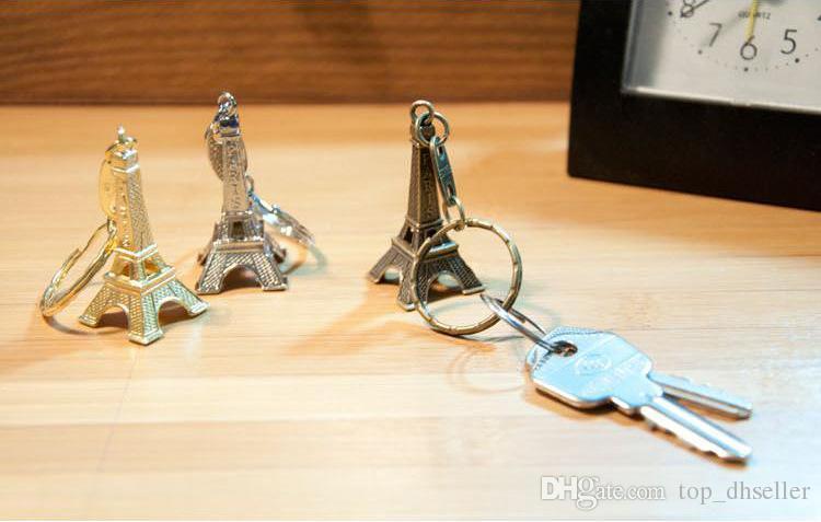 Vintage Torre Eiffel Llavero / Torre colgante llavero regalos Moda Ventas al por mayor Envío gratis Oro Astilla Bronce S085