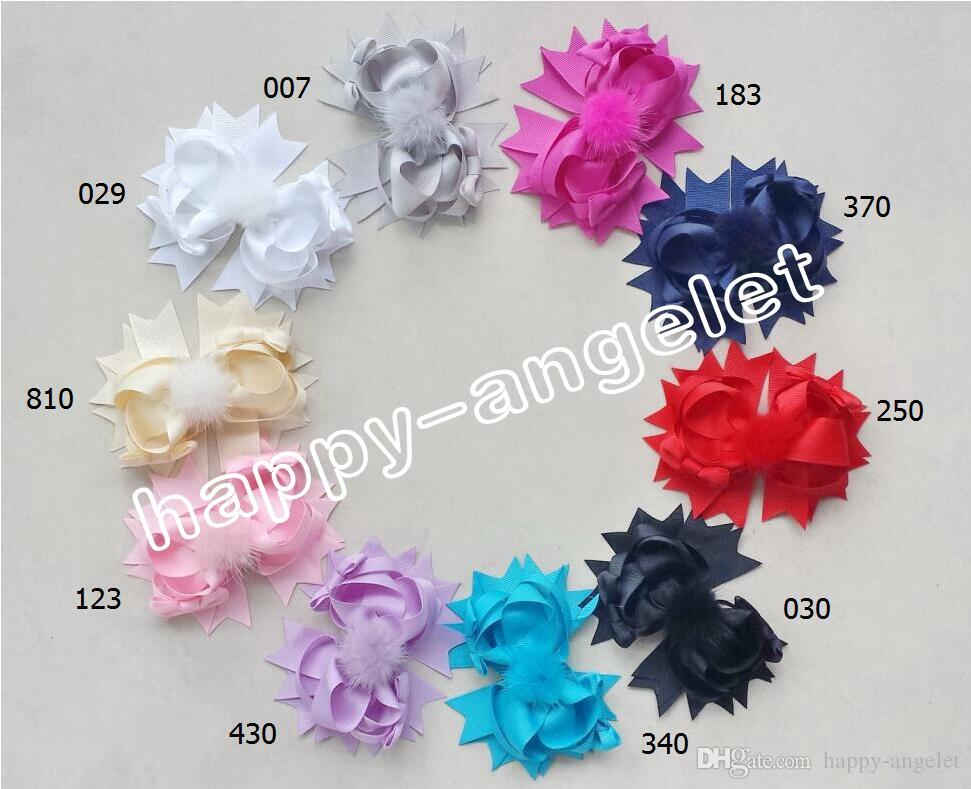 """Boutique lady girl 4.5"""" fabric and fur pom pom hair bows clips pompon headwear pompoms hair elastic accessories Hairpins GR107"""