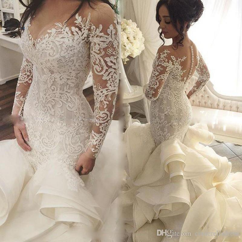 2017 Vintage See Through Neckline Wedding Gowns Lace Appliques Long Sleeve Backless Fashion Tiered Cascading Ruffles Bridal Dresses Western