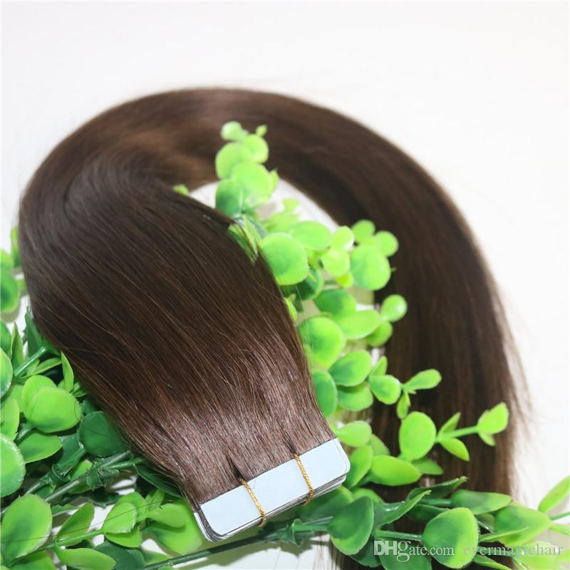 Tape In Human Hair Extensions Medium Brown #4 100gram Remy Tape Hair Extensions Skin Weft Thick End