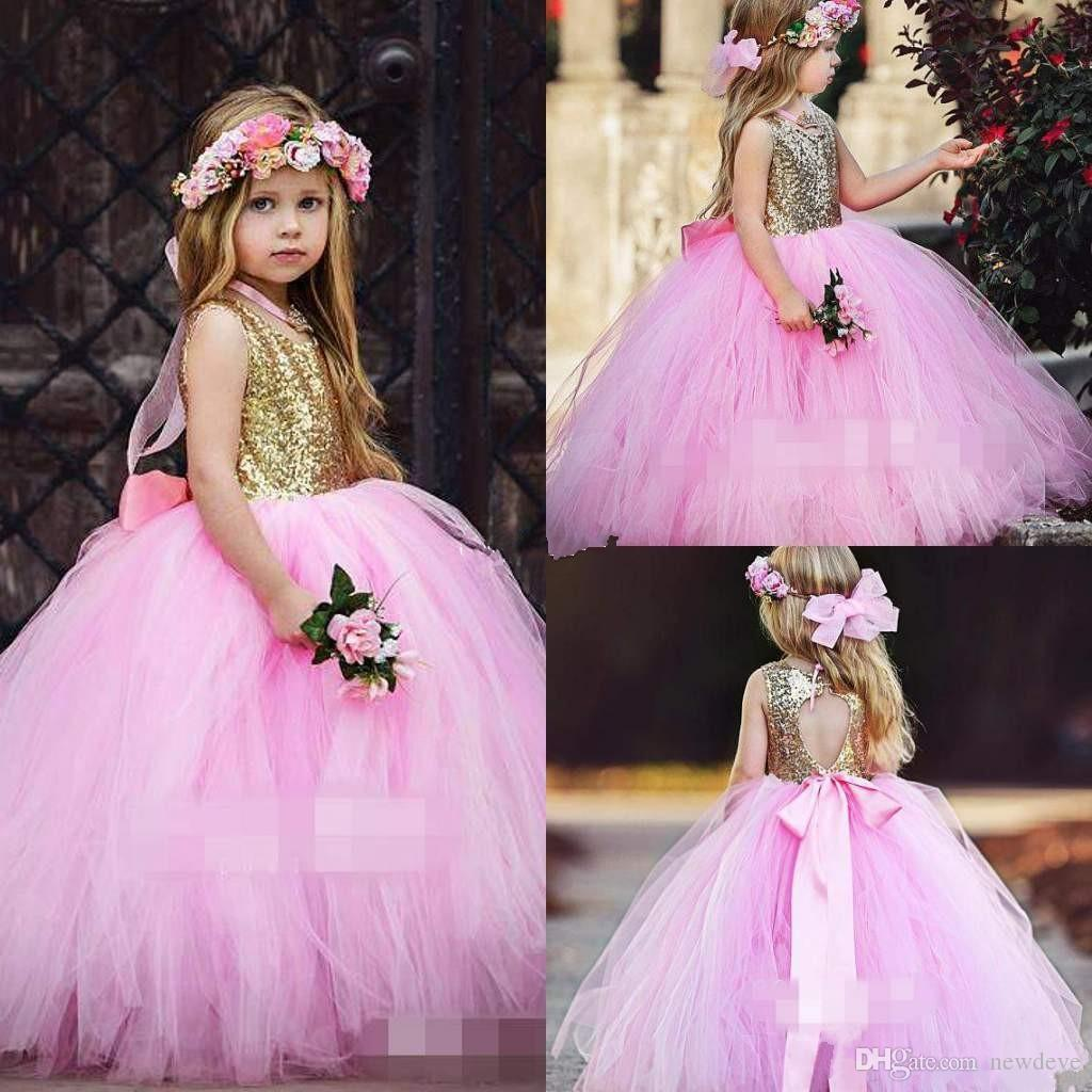 Blush Pink Tulle Flower Girls Dresses New Sparkly Gold Sequins Top