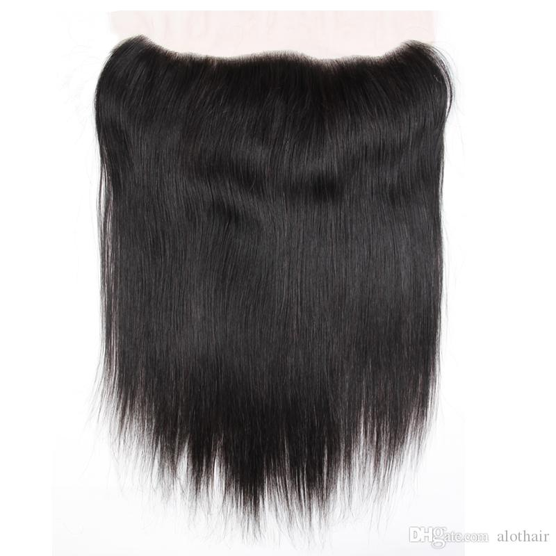 Brazilian Hair Bundles with Frontal Natural Color Straight Hair Weaves 3 Bundles With 13x4 Lace Frontal Brazilian Virgin Hair Extensions