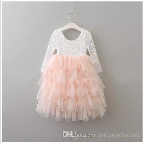 2017 Baby Girls Lace Tutu Vestidos Niños Niñas Princesa Vestido De Tul Chica Vestido De Fiesta De Lujo De Corea Bebés Otoño Ropa