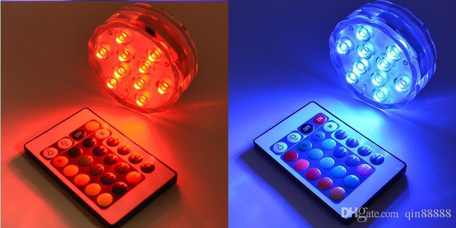 2017 새로운 무선 원격 제어 주도 멀티 컬러 스포트 라이트 수 중 멀티 컬러 잠수정 10 LED 빛 방수 파티 램프