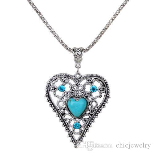 Vintage Women Love Heart Natural Turquoise Crystal Pendants Design ... c1a2e2c7f2c9