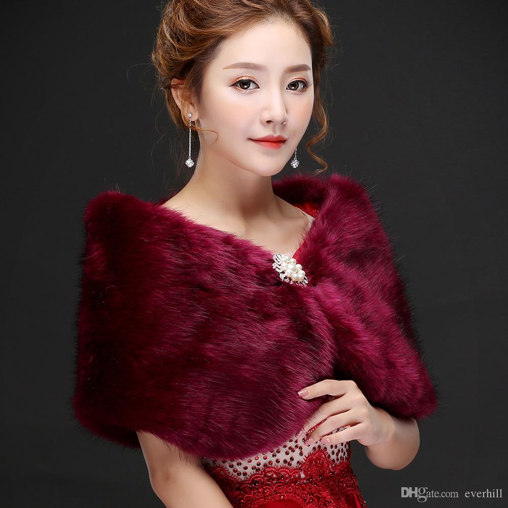 Jane Vini Elegant Women's Grape Party Prom Shawl Formal Bridal Jackets For Winter Wedding Faux Fur Bolero Wraps Capes With Crystal Pin 2018
