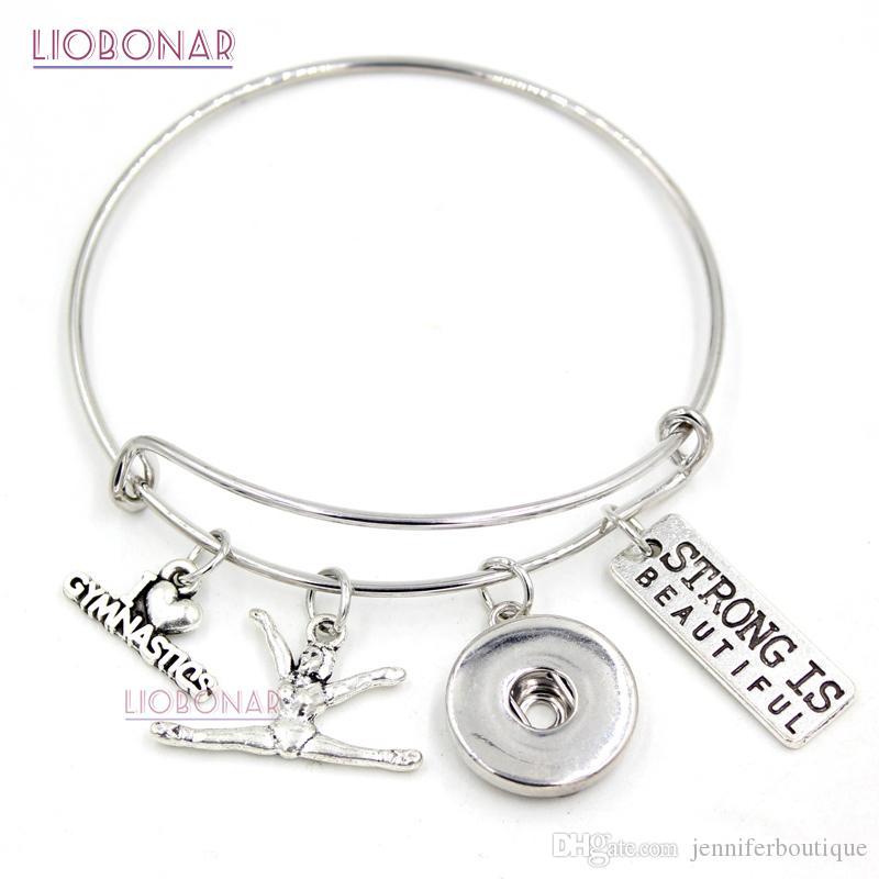 84b570192 Wholesale Snap Jewelry I Love Gymnastics Bracelet Gymnast Charm Bangle  Sport Bracelet Gifts Jewelry Adjustable Snap Button Bracelet Cat Charm  Bracelet ...