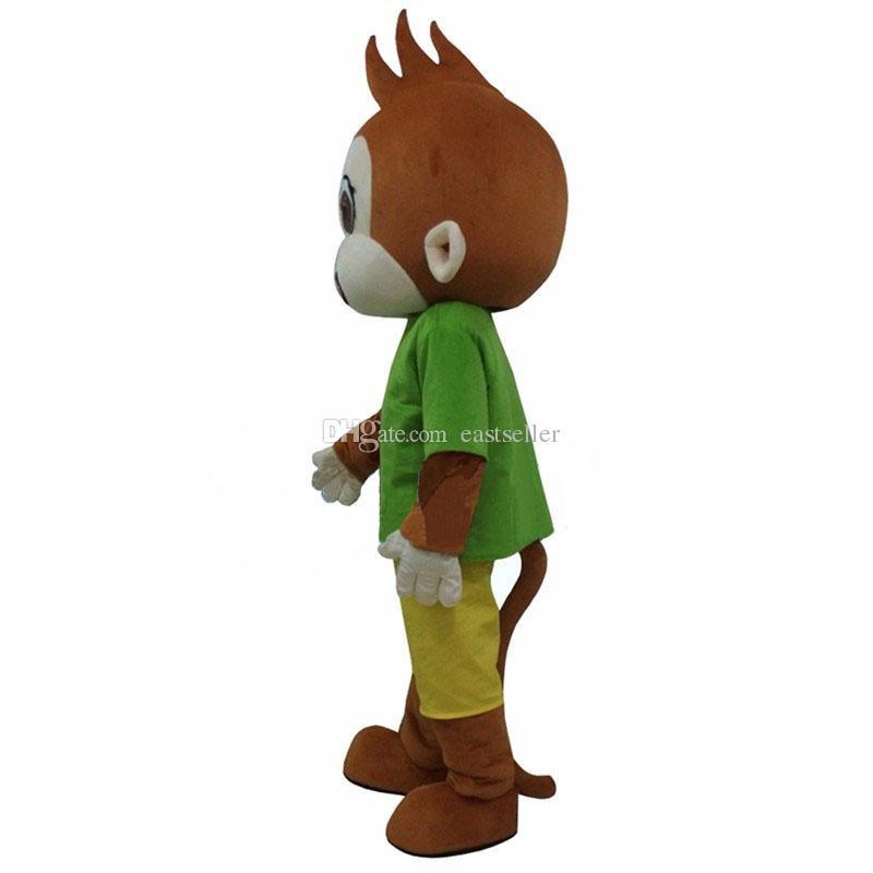 Venta caliente de alta calidad mono verde traje de la mascota del vestido de lujo del envío libre