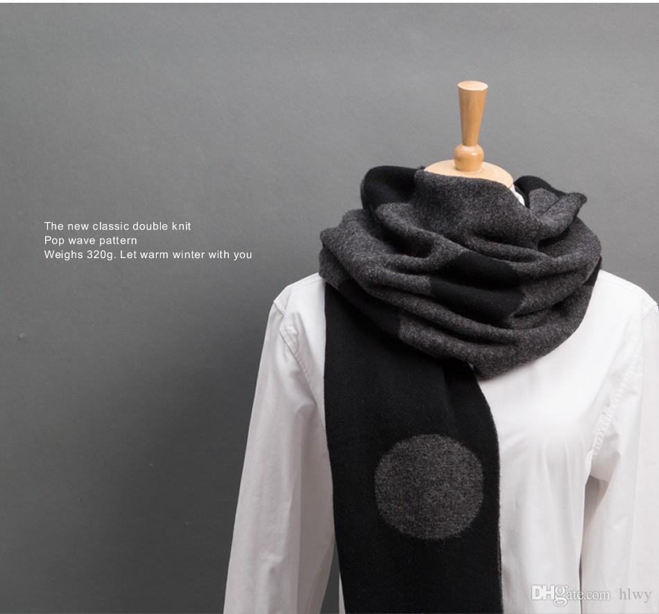 Doble cara engrosamiento de lana de lana de las mujeres Bufanda otoño invierno negro punto blanco diseño de punto chal 2016 envío gratis Rainbo
