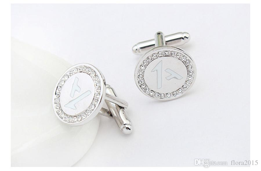 Fashion round shape shirts cufflinks for men white gold color filled designer cuff links for Father's Day gift