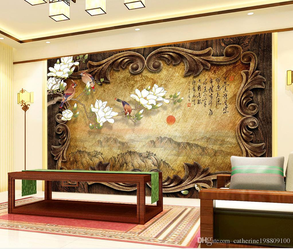 Retro Classical Wooden Frame Landscape Painting Chinese Tv