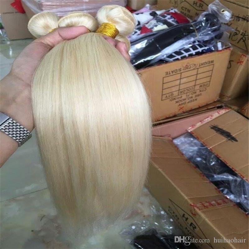 8A Platin sarı düz saç, 613 Brezilya saç 3 demetleri, karışık uzunluğu 8-30inch, İşlenmemiş insan saç örgüsü atkı
