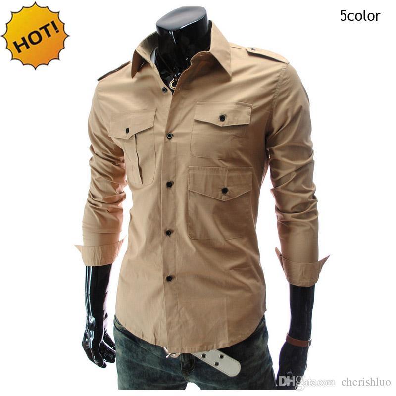18f734e04 2019 New 2017 Autumn Winter Casual Long Sleeve Shirt Men Multi Pockets Mens  Leisure Long Sleeve Shirts Cargo Slim Army Khaki Shirt From Cherishluo, ...