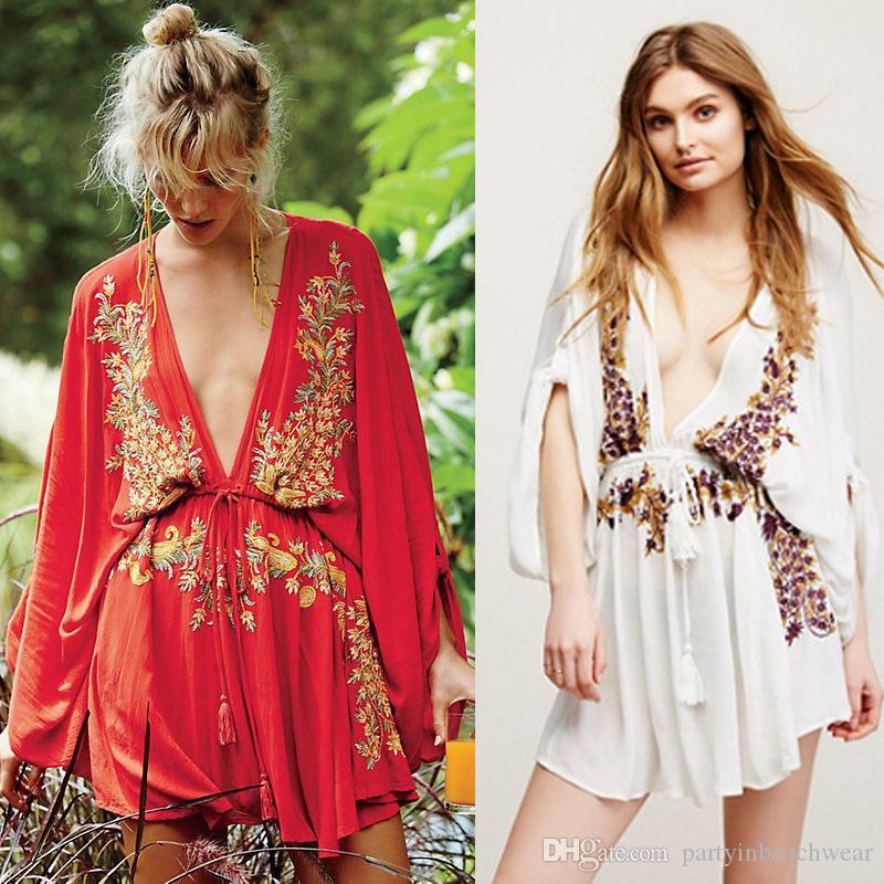 66446567f7c2b Compre Beach Cover Ups Bikini Beachwear Blusas De Mujer Traje De Baño  Bordado De Algodón Arrugas Beach Bohemian Blusa, Falda Vacaciones Cubre Ups  Vestido ...