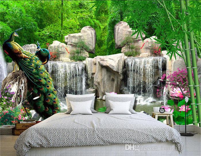 3D Wall Mural Природного пейзаж обои Пейзаж бамбукового лес водопад Peacock постельная Комната 3D Нетканые Обои ТВ Фоновая