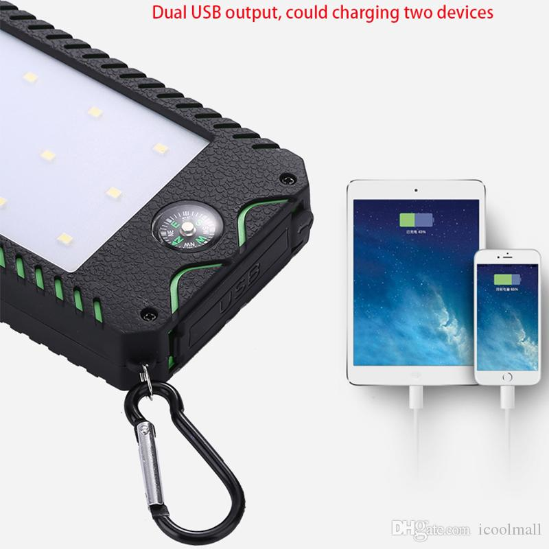 2017 hot sale Solar Power Bank 10000mah For Sumsung All Phone External Battery Powerbank Waterproof 2 USB With Flashlight