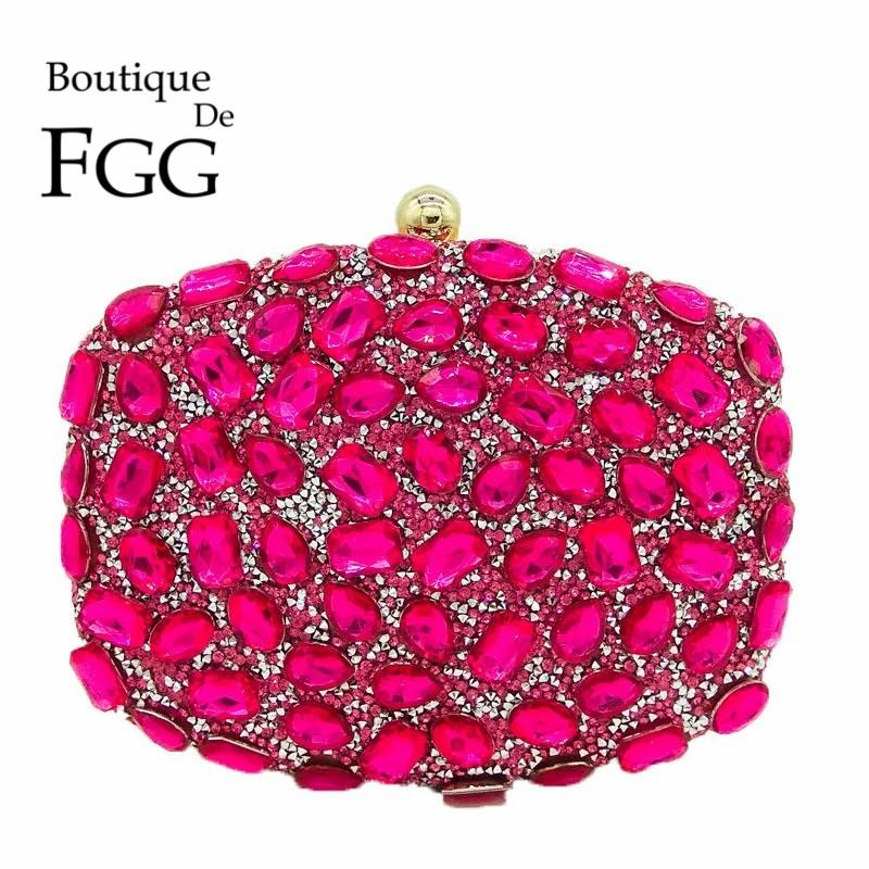 Fuchsia Pink Diamond Crystal Women Evening Cocktail Party Clutches Bags Wedding Dress Gold Handbag Purse Bridal Metal Clutch Bag
