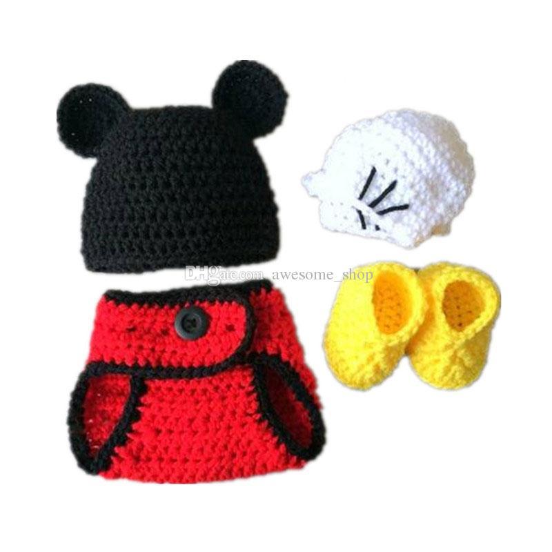 Costume de souris de bande dessinée nouveau-né adorable, chapeau fait main bébé garçon fille Animal Beanie Hat, couverture de couche-culotte, gants et bottes ensemble, accessoire photo pour bébé