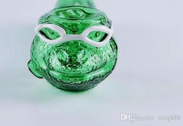 Grüne Frosch Glasrohre, Großhandel Glas Bongs, Glas Wasserpfeife, Wasserpfeife, Raucherzubehör,