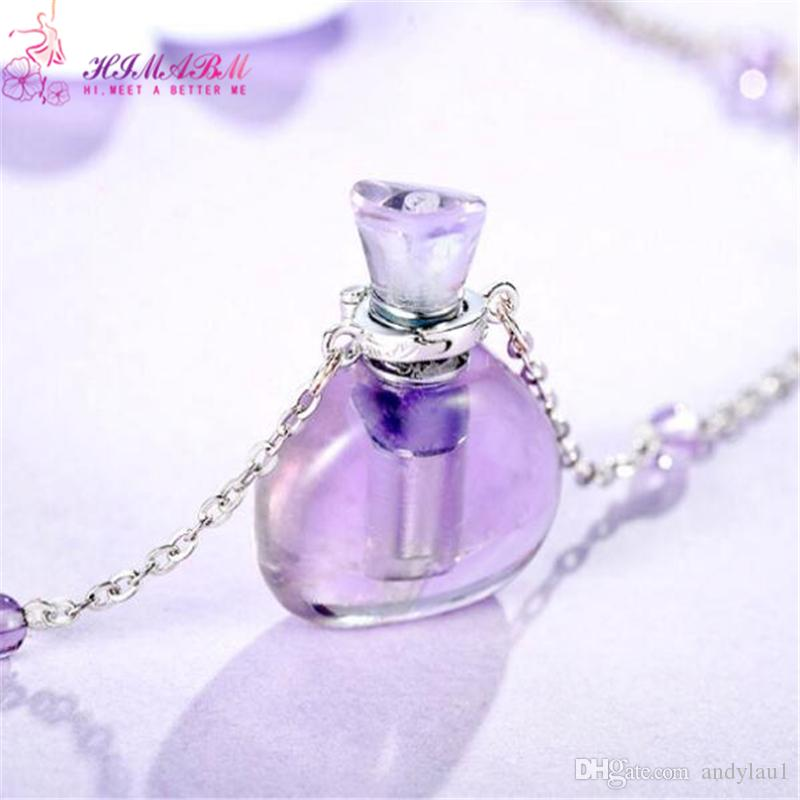 HIMABM Natural Amethyst Perfume Bottle Scent-bottle Essential Oil Bottle Can volumetric flask Birthday