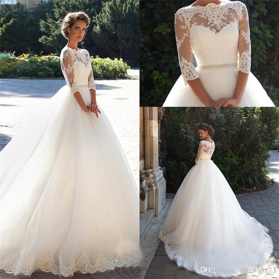 Bateau 3/4 Long Sleeves Pearls Tulle Princess Cheap Bridal Ball Gowns Plus Size Country Vintage Lace Millanova 2019 Wedding Dresses