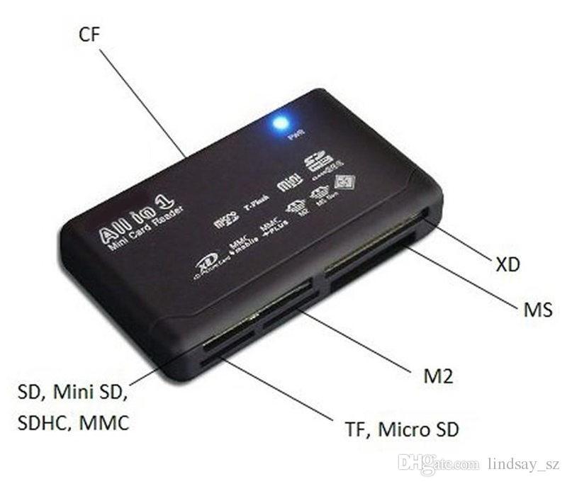 Universal Multi en 1 Todo en Uno Lector de Tarjeta de Memoria USB SD SDHC Mini Micro M2 MMC XD CF envío rápido
