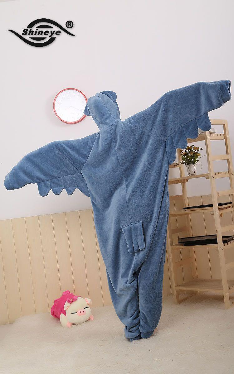 Shineye Owl Unisex Adult Casual Flannel Hooded Pajamas Cosplay Cartoon Cute Animal Onesies Sleepwear For Women Men