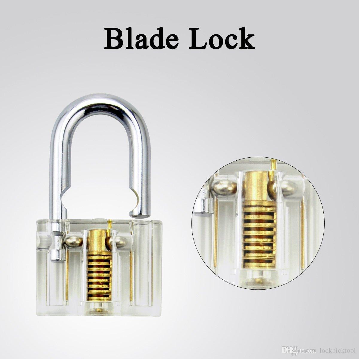 Practice Lock Set serralheiro Habilidade Trainning Bloqueio Escolha Ferramenta Transparente Cutaway Cristal Pin Tumbler com chave Cadeado por serralheiro Beginner