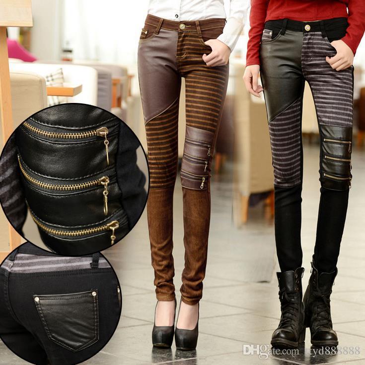 0fe6b653ff09 Moda 2019 NUEVA Mujer PU Cuero Patchwork Jeans Pantalones Cremalleras Botas  Pantalones Lápiz largo Pantalones Marrón Negro. Envío gratis