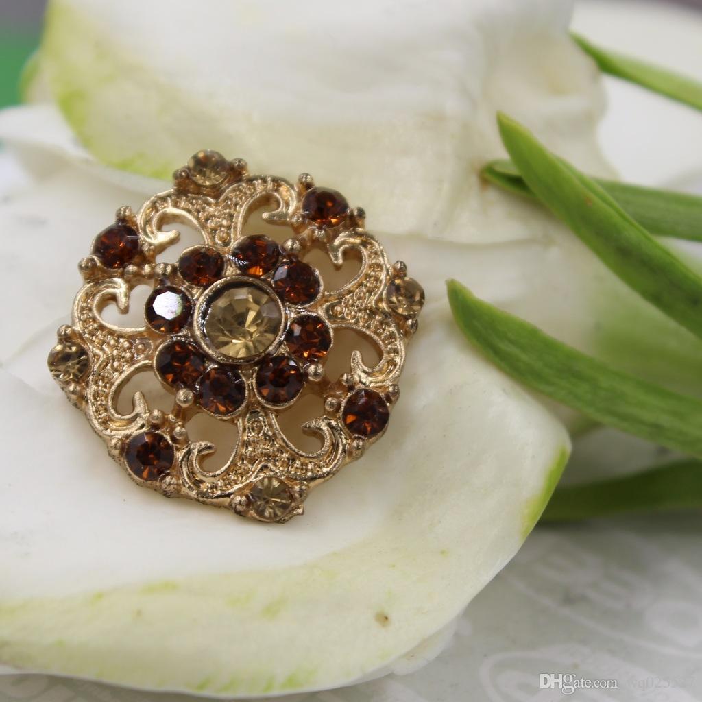 Bei bottoni di disegno squisito del fiore, lega intarsiata con il tasto del rhinestone, bottoni di DIY, gemelli del tutto-fiammifero / # 01302 #