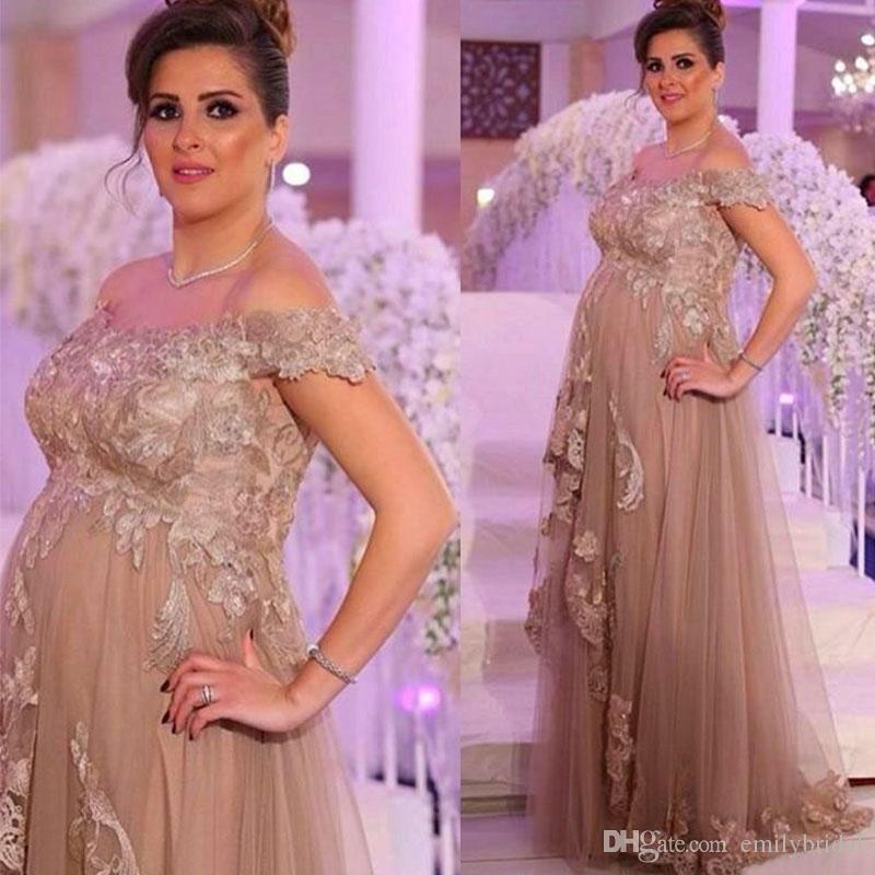 Compre Champagne Tulle Maternidad Mujeres Vestidos Formal Ocasión ...