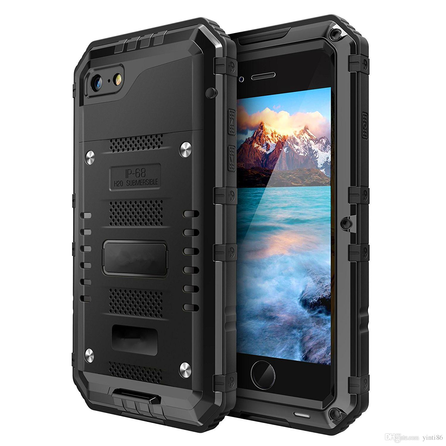 Luxury Doom Armor Heavy Dirt Shockproof Metal Aluminum Anti Shock Phone bags cases For iphone 7 5S 5 SE 6 6S Plus+Tempered glass