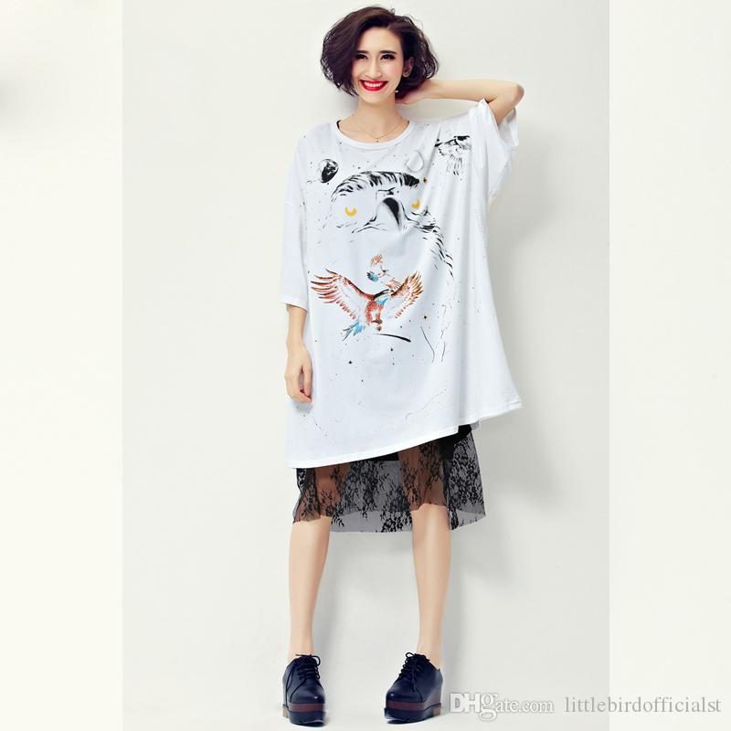 2017 Summer Style Dress Women T-Shirt Plus Size Cotton Owl Pattern Print Casual Punk Female O-Neck Short Sleeve Fashion Tops 4XL