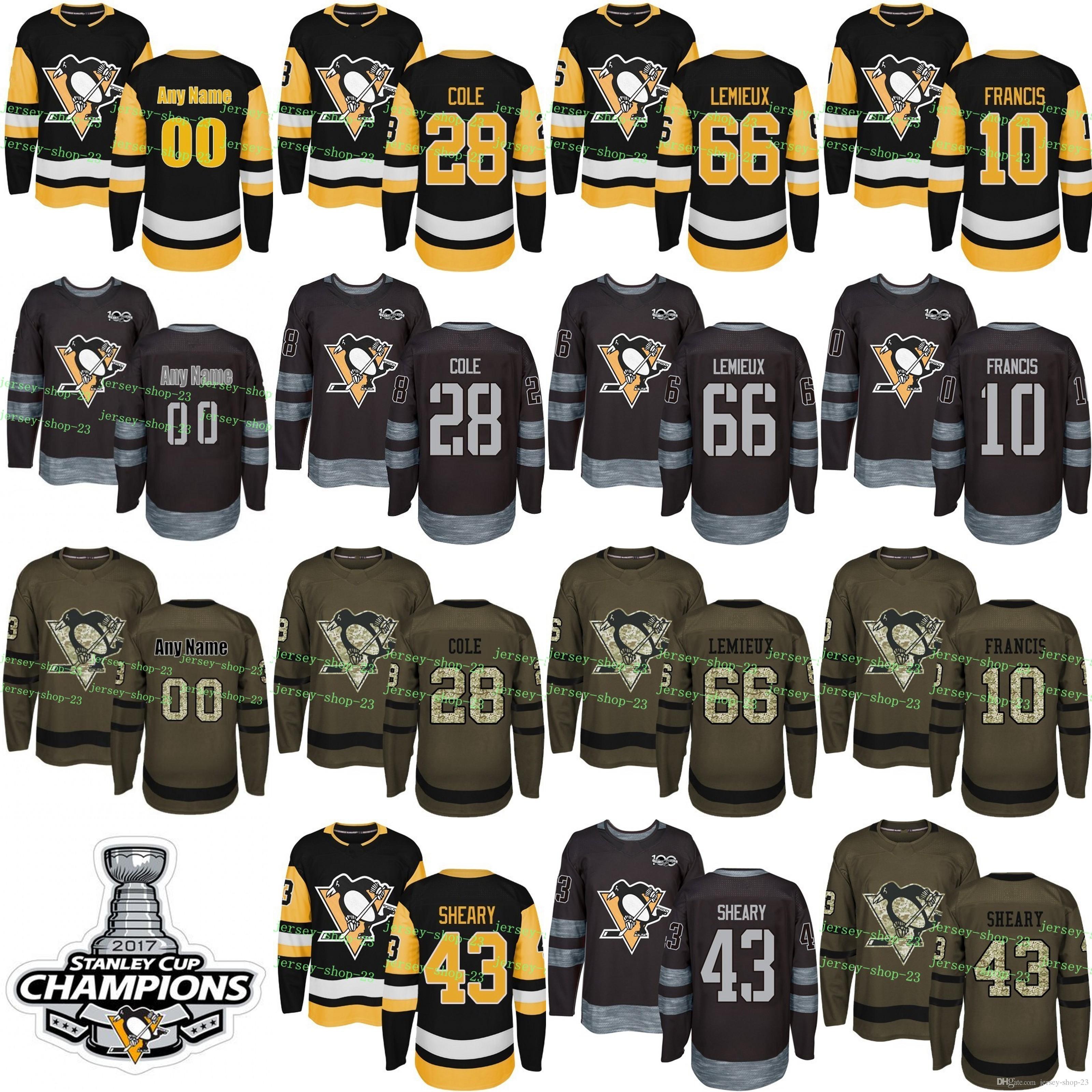 4ec586a751fe Custom Mens Womens Kids 2017 2018 New Logo Pittsburgh Penguins 10 Ron  Francis 28 Ian Cole 43 Conor Sheary 66 Mario Lemieux Hockey Jerseys UK 2019  From ...
