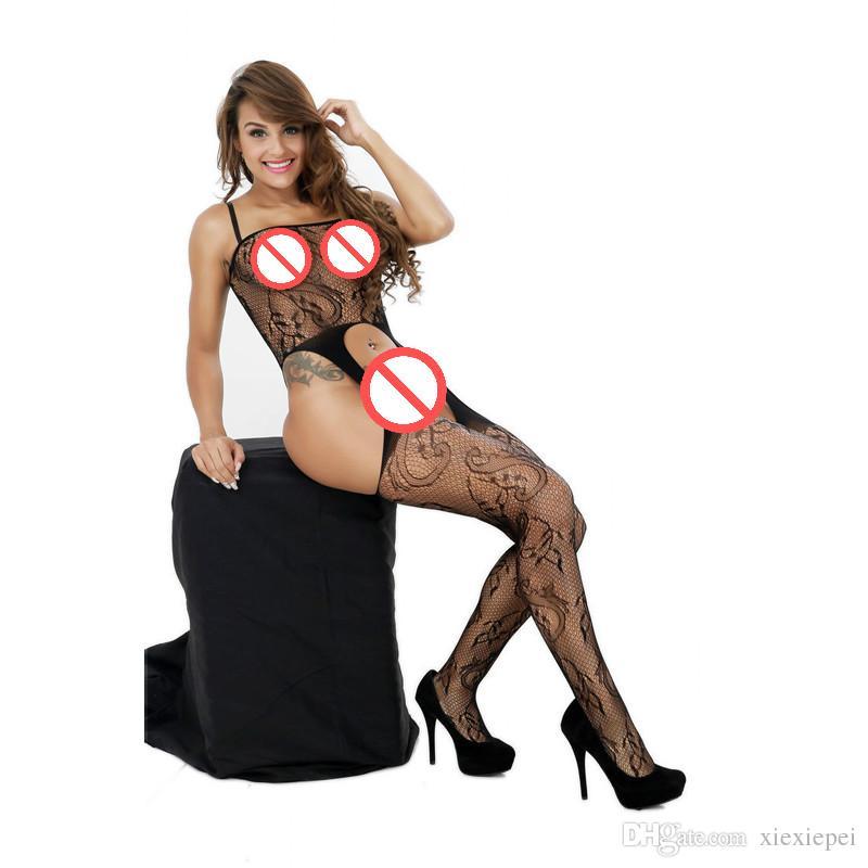 Seksi Fishnet İç Çamaşırı Kadın Kuşakları File Vücut Çorabı Babydoll Spagetti Askı açık kasık dışarı Sexy Lingerie Hollow Lingerie bodysuit