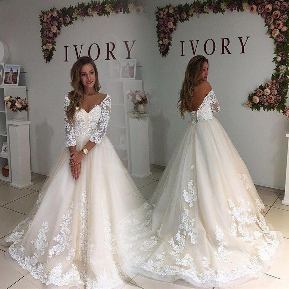 Champagne Plus Size Wedding Dresses With Sleeves 2018 Vintage Open Back Maxi Big Sizes Weddings Gowns Fat Women Bridal Dress Beach Best