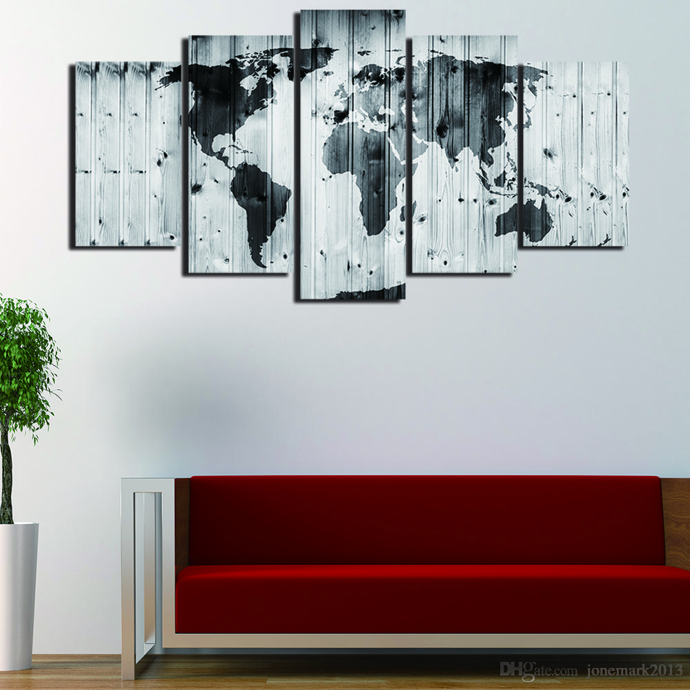 5 Pcs/Set Framed HD Printed Black White World Maps Picture Wall Print Poster Canvas Oil Painting Cuadros Decorativos