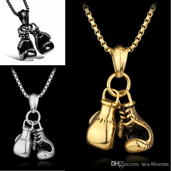 Boxing Gloves Necklace For Men Fashion Sporty Stainless Steel Pendant Necklaces Move Men Jewelry Best Gift B948Q