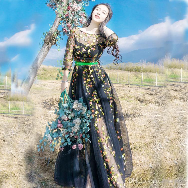 4f2722fcf Compre 2017 La Más Nueva Moda Runway Maxi Dress Elegante De Manga Larga De  Tul Gasa Flor Floral Bordado Negro Vintage Vestido Largo A  37.19 Del  Aihue8899 ...