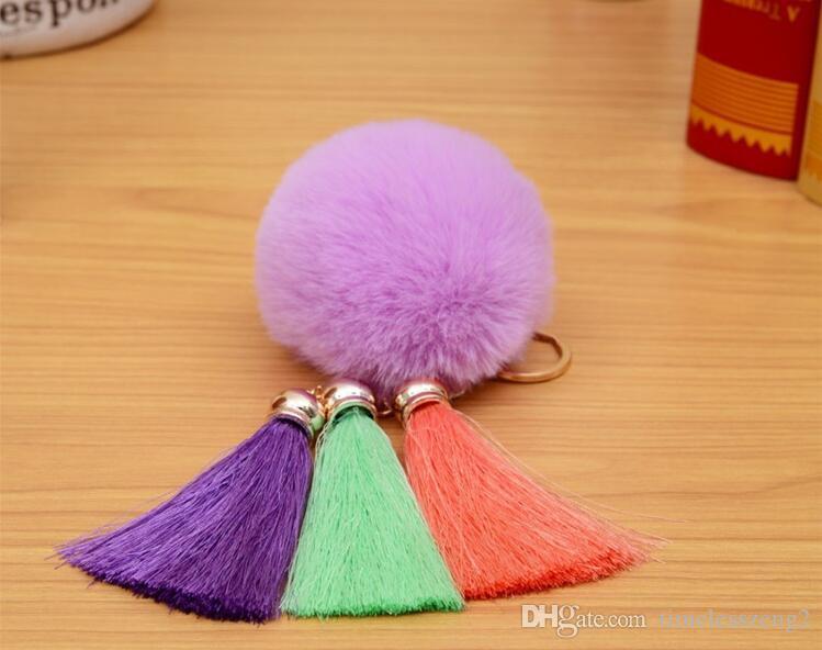Moda rex cabelo coelho chaveiros com três cores diferentes borla hairball chaveiros de alta qualidade pingente BH21