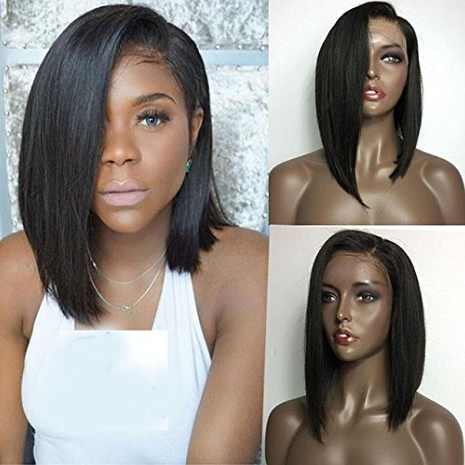 Brazilian Side Part Full Lace Bob Wigs Straight Glueless Human Hair Lace Front Wigs Baby Hair Human Hair Wig