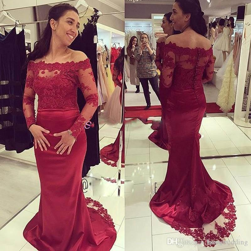 5cb1a3c84833f Sexy Red Carpet Formal Dresses Evening Wear Off Shoulder Lace Party  Cocktails Gowns Sheath Mermaid Prom Dress Floor Length Custom Made Quiz  Evening Dresses ...