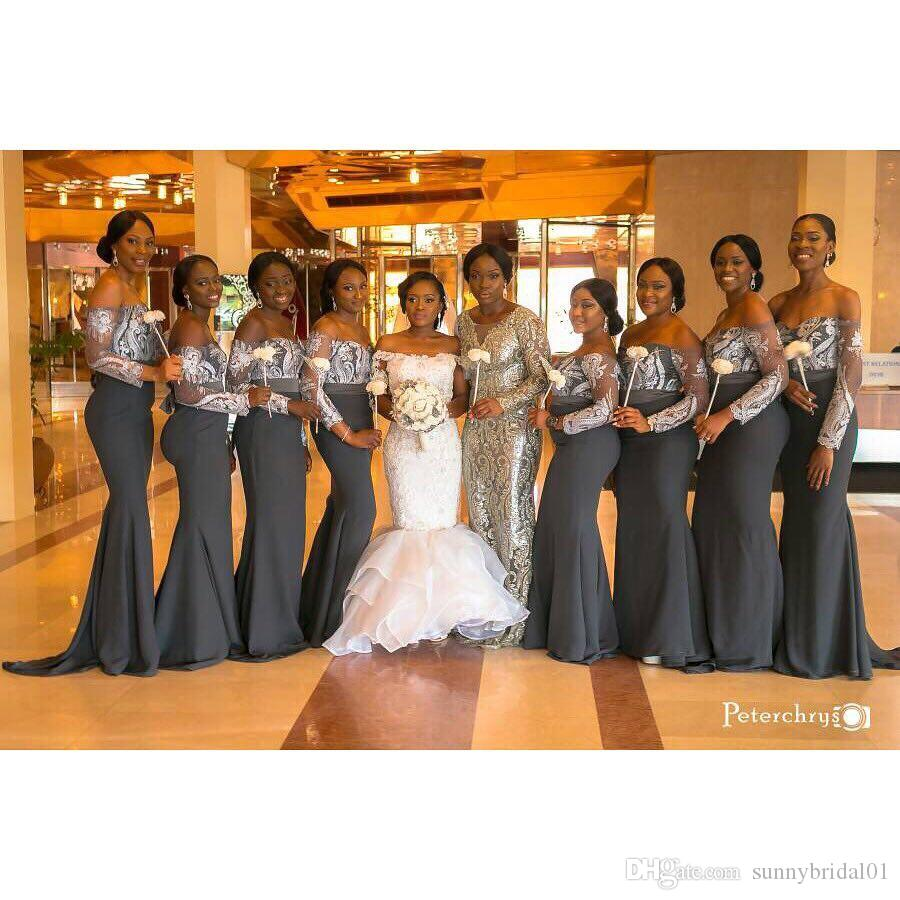 Aso ebi style mermaid plus size bridesmaid dresses strapless long aso ebi style mermaid plus size bridesmaid dresses strapless long sleeves gray satin wedding guest party evening gowns custom made 2017 copper bridesmaid ombrellifo Images