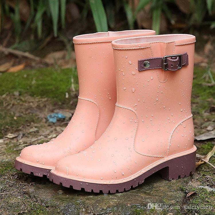 Kinder Regen Stiefel Nette Mädchen Jungen Babys Kid Slip On Schnalle Feste Hoof Ferse Wasserdichte Schuhe 2016 Design kinderren regenlaarzen Einfache Chil